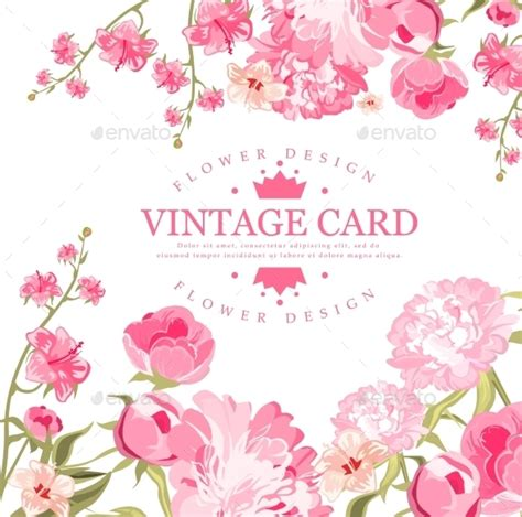 card flowers vintage flower card by top vectors graphicriver