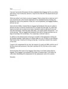 Complaint Letter To Airline About Food Airline Lost Luggage Complaint Letter