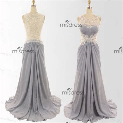 Silver Bridesmaid Dress by Dress Lace Scoop Prom Dress Sliver Skirt Prom Dress