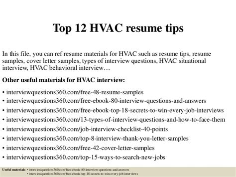 entry level hvac technician resume sles top 12 hvac resume tips