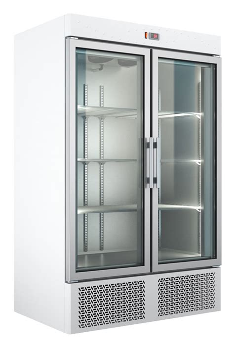 Refrigerator With Cabinet Doors Mounted White Color Refrigerated Freezer Cabinet With 2 Glass Doors Bambas