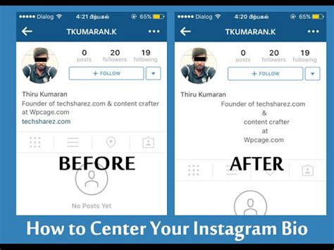 bio instagram tricks how to center instagram bio by techsharez videos