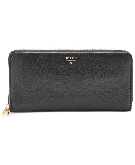 leather zip wallet fossil sydney leather zip around wallet in black lyst