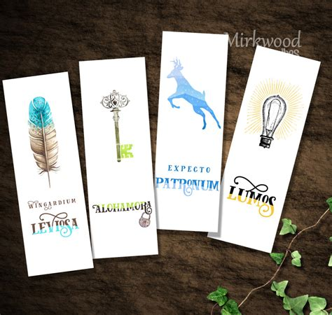 printable bookmarks harry potter printable harry potter bookmarks wizard spells and charms