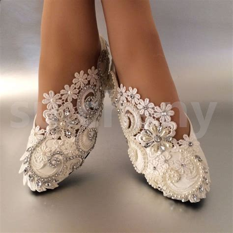 white ivory pearls lace wedding shoes flat