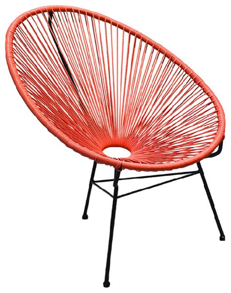 Contemporary Patio Chairs Acapulco Outdoor Patio Chair Atomic Tangerine Contemporary Outdoor Lounge Chairs By