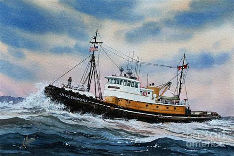 boat canvas long beach tugboat island commander painting by james williamson