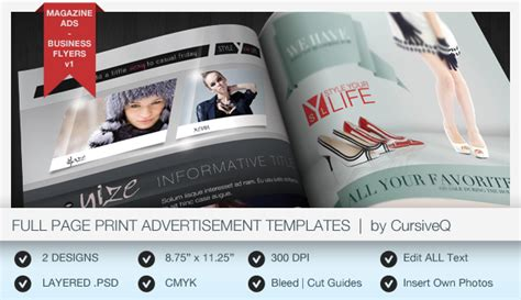 advertising magazine template page magazine ad or flyer templates graphicriver