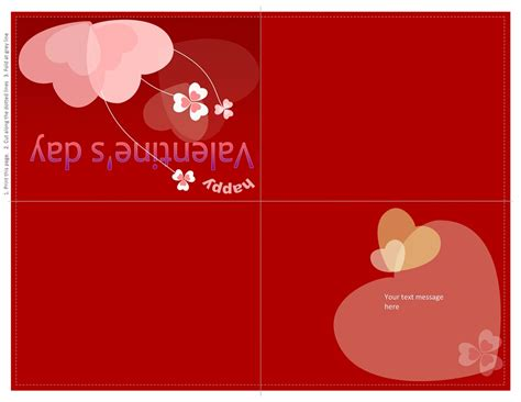 S Day Card Quarter Fold Templates by S Day Card Template Microsoft Word