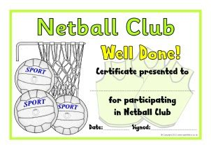 netball certificate template primary school sports clubs printable resources