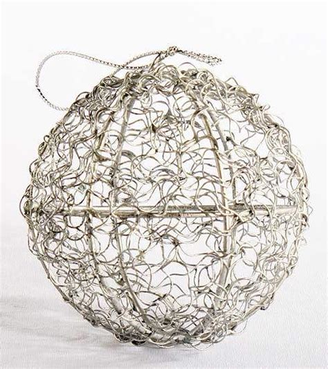 round silver and glitter wire mesh ball ornament