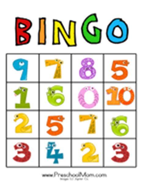 printable children s number bingo cards number preschool printables
