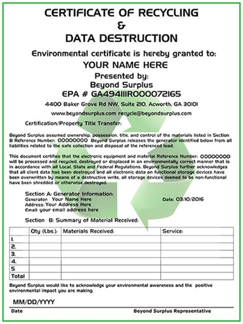 certificate of data template computer disposal electronics recycling free