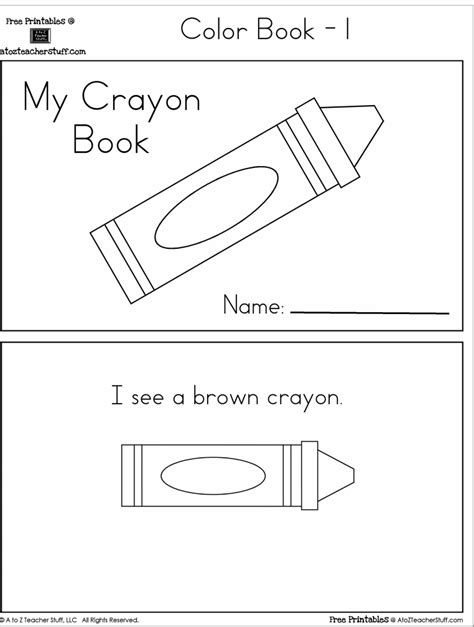 stuff to color crayon colors printable book with 6 pages free