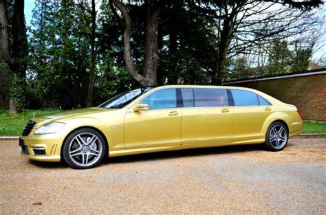 mercedes s65 amg 6 door limousine in gold