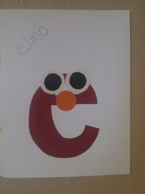 and craft elmo craft for the letter e learning the abc s is