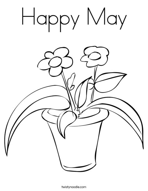 happy may coloring page twisty noodle