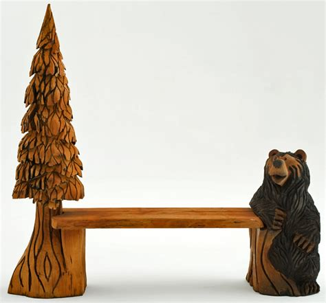 bears bench carved bench cabin bench bear tree lodge decor rustic