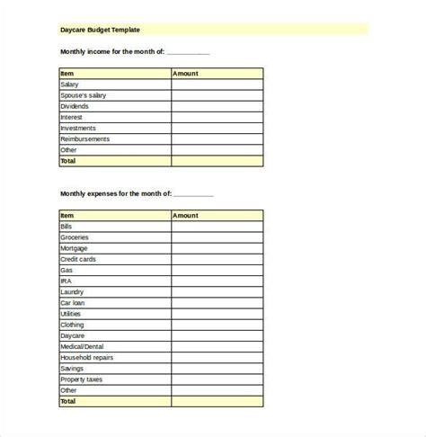 preschool budget template daycare budget template basic budget template how to