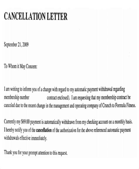95 cancellation letter event letter sle