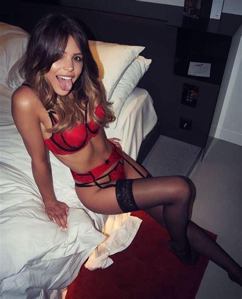 bedroom lingerie chloe lewis looks sensational in sexy suspenders as she