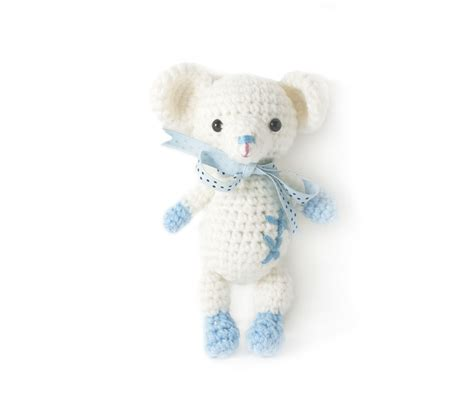 Handmade Stuffed Dolls - blue white mouse handmade amigurumi stuffed knit