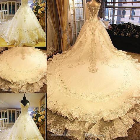 discount  luxurious shining wedding dresses sheer cap