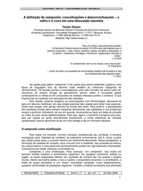 A definição de camponês - Teodor Shanin | Camponês | Marxismo