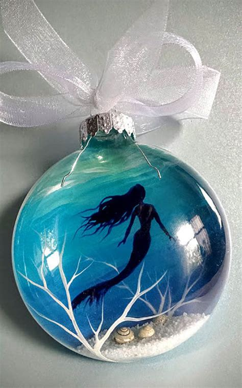 mermaid christmas ornament hand painted glass blue aquatic