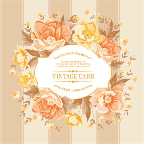 Retro rose with vintage card vector   Vector Card, Vector
