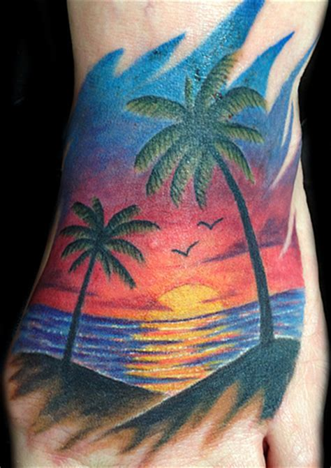 palm trees and sunset tattoo tattoomagz