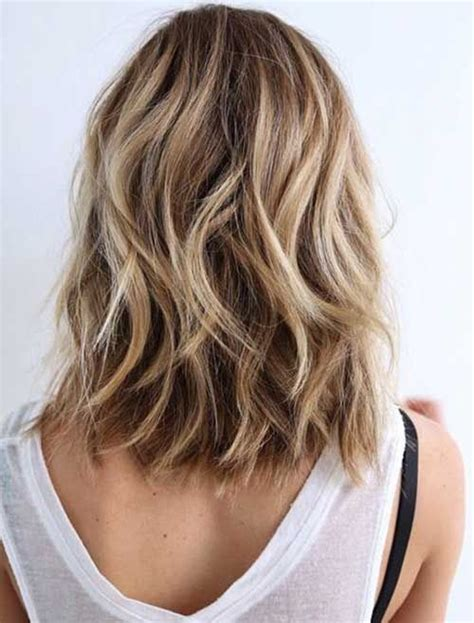medium length wash wear hairstyles picture of wavy bob with shades of blonde and light brown