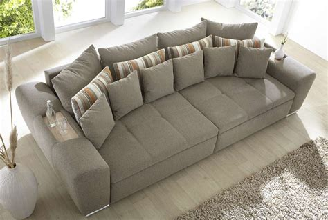big couch media big sofa bigsofa couch garnitur hellbraun braun grau neu