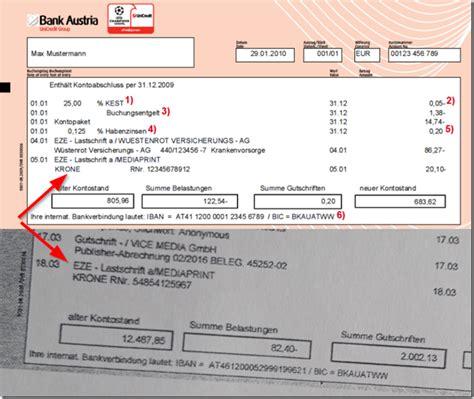 bank austria kontoauszug der mimikama bankauszug mimikama