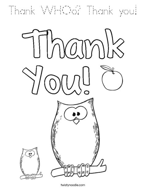 printable coloring pages thank you thank whoo thank you coloring page tracing twisty noodle