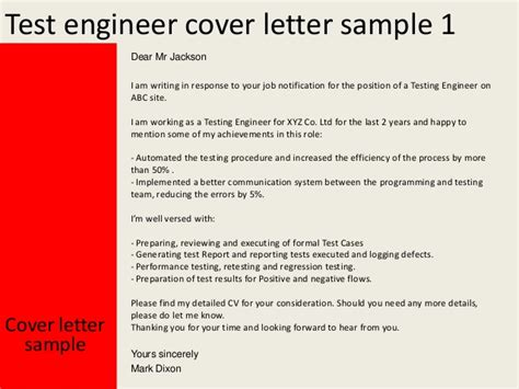 Software Performance Engineer Cover Letter by Test Engineer Cover Letter