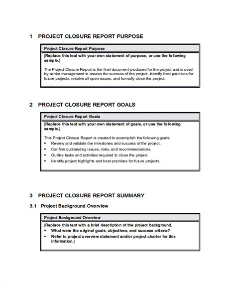 49 Report Templates Free Sle Exle Format Free Premium Templates Project Closure Report Template Free