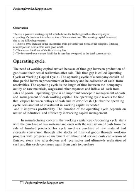 dissertation reports a dissertation report on working capital management of