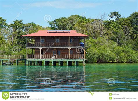 house over water off grid caribbean house over water solar powered stock photo image 44957556