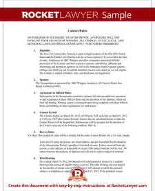 contest rules document rules for hosting a contest template