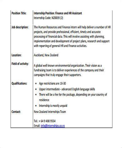 summer intern description 9 hr intern description sles sle templates