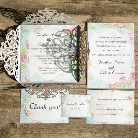 Summer Theme Wedding Invitations by Beautiful Pink Floral Grey Laser Cut Wedding