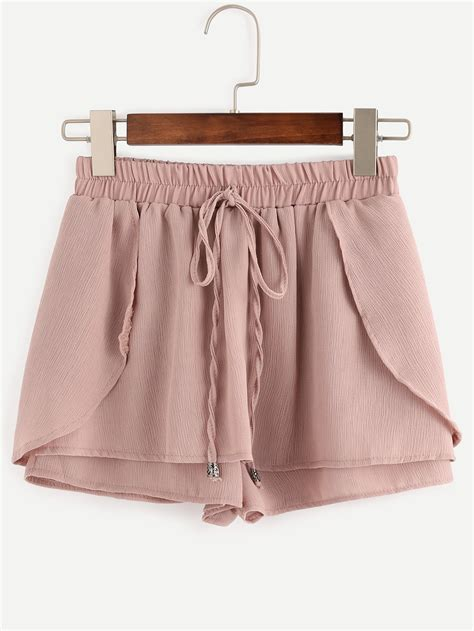 drawstring waist layered shorts shein sheinside