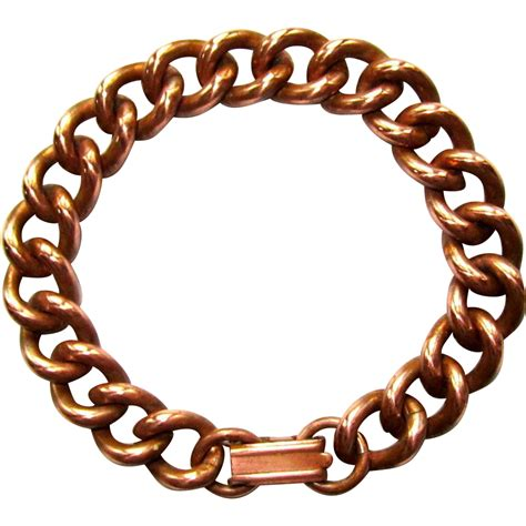vintage copper bracelet heavy chain link from