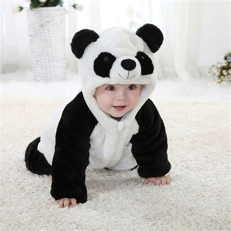 baby panda costume style onesie for toddlers