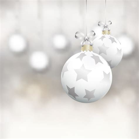 white christmas balls vector free download