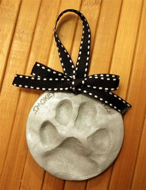 homemade dog paw print ornaments    love