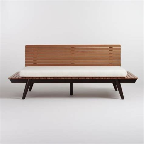 wood slat trapani deep bench with cushion world market