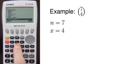 calculator ncr casio fx 9750gii computing the binomial coefficient n