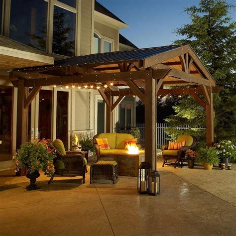 backyard pergolas pictures outdoor greatroom company lodge ii 14 x 14 foot wood